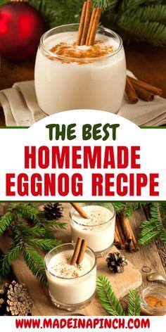 Homemade Eggnog Without Alcohol Homemade eggnog recipe. Non-alcoholic eggnog drink for holiday parties.