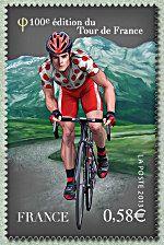 Le maillot à pois du meilleur grimpeur devant le Pic du Midi d´Ossau Centième Tour de France - Timbre de 2013