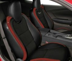 KATZKIN LEATHER 2010 2011 2012 CHEVY CAMARO BLACK LEATHER WITH RED WINGS