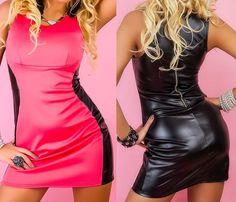NEU! Sexy Minikleid Partykleid Kunstlederkleid S M 36 38 schwarz/pink Kleid Club
