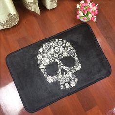 Floral Skull Anti-slip Black Carpet - Skullflow    https://www.skullflow.com/collections/skull-carpets/products/floral-skull-anti-slip-black-carpet