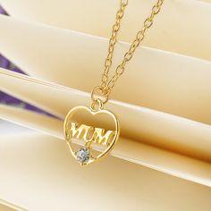 """Chapado en oro de Amor """"Mum"""" Corazón de Cristal Colgante de Collar de Regalos Día de la Madre para la madre Suéter Collares de Cadena Mejor regalos"""