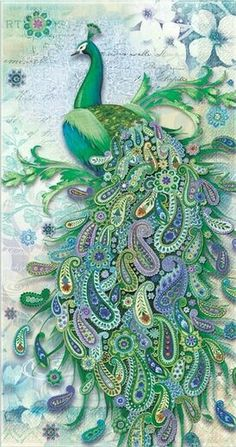 Maybe paint the body of peacock and then decoupage a bunch of paisleys for its feathers  JRO