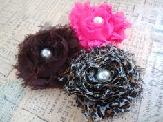 Shabby chic flower hair clips pearl centers set by LoveMeDoCrochet, $6.50