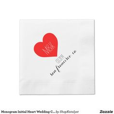 Monogram Initial Heart Wedding Cocktail napkin