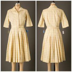 1950s Yellow Plaid Shirtwaist Dress by Mr by BloomersAndFrocks