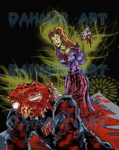 Illustrations, Art, Comic Books, Graphic Novels, Death, Psycho, Killers, Blood, Horror, Horror Art, Dahmer Art, Colorful, Insanity, Axes