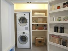 Exciting Small Laundry Room Ideas With Stacked Washer Dryer And Open Storage Shelves of Furniture, InteriorIdeas For Small Laundry Room Organization, Laundry Room Storage Solutions, Storage Cabinets For Laundry Room - HomeOzoic Pantry Laundry Room, Small Laundry Rooms, Laundry Room Organization, Laundry Storage, Laundry Nook, Storage Organization, Small Storage, Storage Spaces, Storage Ideas