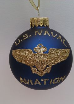 Personalized US Naval Aviation Glass Ball Ornament- US Navy Pilot and Flight Wings Military Ornament, $18.00