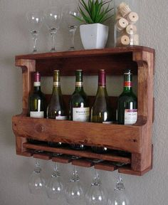 Rustic Wine Rack 5 bottle by CJsUrbanUpcycle on Etsy