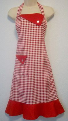 Retro Womens Full Apron / Red Gingham with Red Trim. $35.00, via Etsy.