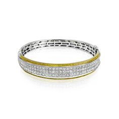 Style MB1519 - Ladies Two Tone Yellow & White Gold Bangle using the Patented Simon Setting Process