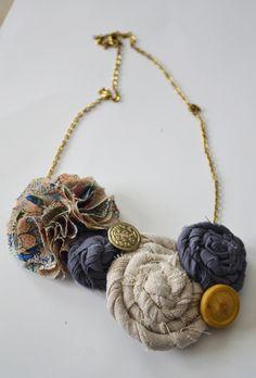 DIY Fabric Rosette Necklace.