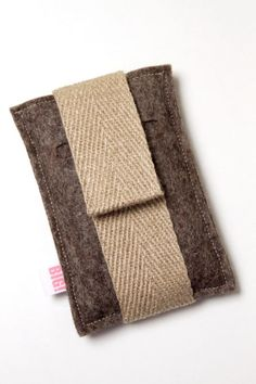 Cell phone case made to fit your iphone or other smartphone in BROWN with canvas band