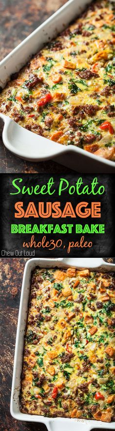 Sweet Potato Sausage Breakfast Casserole. Healthy, GF, Dairy-free, Sugar-free, and DELICIOUS! #sweetpotato #sausage #breakfast #brunch #bake #casserole #recipe #whole30 #paleo #healthy #chewoutloud www.chewoutloud.com