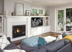 How to Get The Most Out of Your Built-In Media Wall - Get the Most Out of Your Built-In Media Wall – As homes evolve with changing technology and electronic gadgets, sound systems and gaming consoles accu. Brick Fireplace Makeover, Fireplace Built Ins, Mounted Fireplace, Simple Fireplace, Fireplace Ideas, Family Room Design, Dining Room Design, Gadgets Électroniques, Contemporary Fireplace Designs