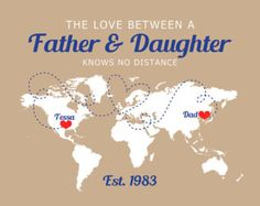 Gift for Dad, Long Distance Family Map Custom Print, Father's Day Gift, Military Dad, Army, Marine, Navy - Unique Present Fathers Day