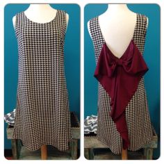 #00012 Black Checkered Dress with Crimson Bow - Sugar Rush Boutique