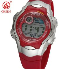New OHSEN 7 Colors LED Backlight Alarm Date Stopwatch Blue Jelly Silicone Wristwatch Boys Kids Children LCD Digital Sport Watch
