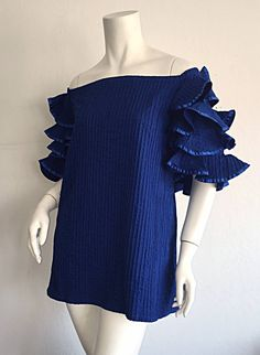 Vintage Tachi Castillo Blue Cotton Ruffle Prairie Tiered Sleeves Mexican Blouse | From a collection of rare vintage blouses at https://www.1stdibs.com/fashion/clothing/blouses/