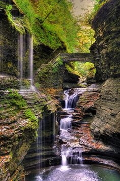 Watkins Glen State Park, Watkins Glen, NY Watkins Glen State Park is the most famous of the Finger Lakes State Parks located on the edge of the village of Watkins Glen, New York, south of Seneca Lake in Schuyler County. The main feature of the park is the hiking trail that climbs up through the gorge, passing over and under waterfalls.