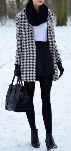 #winter #fashion / houndstooth coat                                                                                                                                                                                 More
