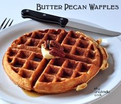 Light and crispy Butter Pecan Waffles