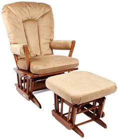 Dutailier Horseshoe Back Design 2 Post Glider Multiposition and Ottoman Combo, Light Brown
