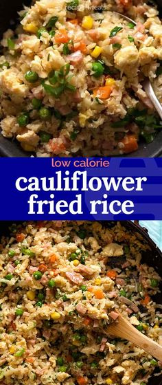 This looks and tastes so much like real fried rice, I forgot for a moment that I was writing up a CAULIFLOWER Fried Rice recipe! less calories, less carbs, astonishingly similar mouthfeel as r Rice Recipes, Asian Recipes, Dinner Recipes, Healthy Recipes, Ethnic Recipes, Healthy Cooking, Healthy Eating, Cooking Recipes, Clean Eating
