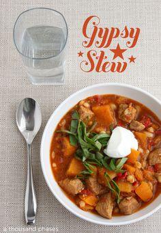 Gypsy Stew . . . SO SO SO good. With sweet potatoes, cumin, paprika, pork tenderloin….nom nom.
