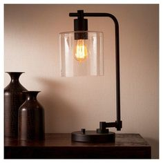 Home Decoration Ideas Homemade Hudson Industrial Table Lamp - Ebony - Threshold.Home Decoration Ideas Homemade Hudson Industrial Table Lamp - Ebony - Threshold Black Table Lamps, Metal Table Lamps, Black Lamps, Glass Table, Living Room Lighting, Home Lighting, Bedroom Lighting, Modern Lighting, Lighting Stores