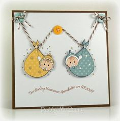 """Twins Card: """"Two Darling Newcomers...Grand Babies are Grand!"""""""
