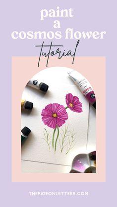 Paint Along: Cosmos Flower Gouache Tutorial, White Gouache, Little Doodles, Watercolor Cards, Learn To Paint, Flower Tutorial, Pretty Flowers, Art Tutorials, Find Art