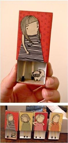 Matchbox illustration by Mai Ly. Could be fun craft /self portrait for kids Diy And Crafts, Crafts For Kids, Arts And Crafts, Paper Crafts, Art Crafts, Matchbox Crafts, Matchbox Art, Paper Dolls, Art Dolls