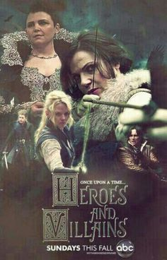Awesome Bandit Regina Emma Snow/MaryMargaret Rumple/Mr Gold (Lana Jen Ginny Robert) on an awesome poster for the awesome #Once #S4 E11 Winter finale #HeroesandVillains aired Sunday 12-14-14