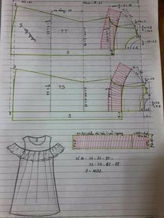 Baby Dress Sewing Tuto Robe 28 New Ideas Kids Dress Patterns, Clothing Patterns, Sewing Clothes, Diy Clothes, Pattern Cutting, Pattern Drafting, Fashion Sewing, Sewing Techniques, Baby Sewing