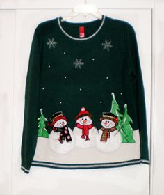 Vintage Christmas Sweater with Snowmen by AnnesAccumulations