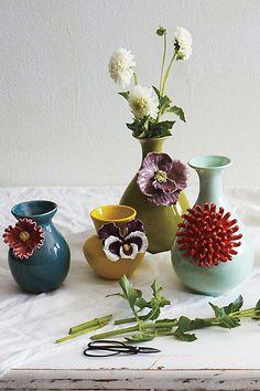 rose of sharon grand vase /anemone mezzo vase/pretty pansy vase/curvy chrysanthemum vase - Diy Flowers, Flower Vases, Rose Vase, Anemone Flower, Bud Vases, Peony, Anthropologie Home, Anthropologie Clothing, Sculptures Céramiques