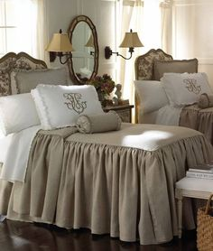 """taupe and white bedroom linens from Neiman Marcus. Legacy Home """"Essex"""" Bed Linens collection ~~' Our bedspread in our bedroom Linen Bedroom, White Bedroom, Bedroom Decor, Linen Bedding, Design Bedroom, Taupe Bedroom, Neutral Bedding, Khaki Bedroom, Burlap Bedding"""