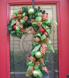 Christmas Wreath Candy Cane Lime & Red Visions by LuxeWreaths