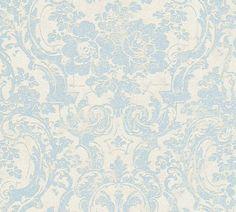 Tapete Barock Blume creme blau livingwalls 32831-2