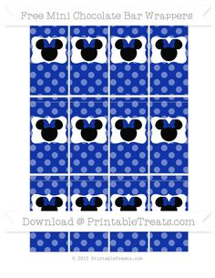 Free Egyptian Blue Dotted Pattern  Minnie Mouse Mini Chocolate Bar Wrappers