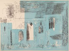 John Piper Lewknor, Oxfordshire: Textured Walls, Traceried Windows From A Retrospect of Churches 1964 Lithograph on paper John Piper, Original Art For Sale, Buy Art Online, Textured Walls, Art Images, Art Lessons, Illustrators, Illustration Art, Artsy