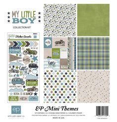 Echo Park My Little Boy 12x12 Scrapbook Collection Kit Pocket Scrapbooking Journal Cards Bikes Buses Adventure Born To Be Wild Blues Greens by InkyHotMess on Etsy