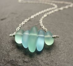 Sea glass necklace, seafoam green blue, petite, 14K gold filled, sterling silver, natural jewelry by estherdobsonart on Etsy https://www.etsy.com/uk/listing/246792208/sea-glass-necklace-seafoam-green-blue