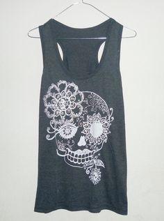 Women tank top size S,M, L Dark grey Flower Skull women t shirt teen top plus size shirts