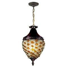 Be prepared to receive a bevy of compliments from family and friends on your excellent taste when you choose our Glass Flower Hanging Fixture for your home. This stunning foyer pendant features a deep inverted dome shade crafted of clear and amber ar Hanging Light Fixtures, Hanging Pendants, Hanging Lights, Hanging Lamps, Metal Ceiling, Ceiling Lights, Tiffany Glass, Bronze Pendant, Light Bulb Bases