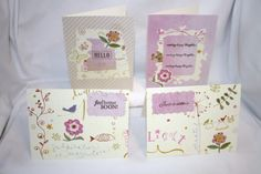 "Handcrafted by Teal Palmetto, LLC.  This set has an adorable, whimsical design in  predominant shades of cream, pink, and green.  You get 4 different sentiments: ""Hello,"" ""Sending Happy Thoughts,"" ""Feel Better Soon,"" and ""Just A Note.""  Price: $10."