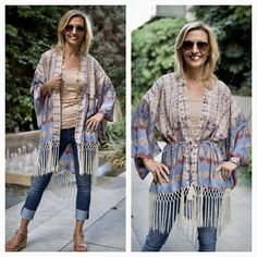 Another great piece to take into summer is our Geometric Print Belted Kimono with Fringe which is now part of our MEMORIAL WEEKEND SALE!!  . Get 20% off when you spend more than $100.00 with code MDAY20 . Get 15% off when you spend less than $100.00 with code MDAY15 . Free US Shipping and $25.00 Flat Rate on all International Shipments  www.jacketsociety.com