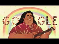 "In honor of Asian Pacific American Heritage Month in the U., today's Doodle celebrates the birthday of native Hawaiian `ukulele player, singer-songwriter, and activist Israel ""IZ™"" . Google Doodles, Over The Rainbow, Israel Kamakawiwo, Hawaiian Ukulele, Jean Gabin, Paper Mulberry, Ukelele, How To Make Animations, Heritage Month"